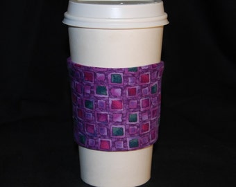 Green Sleeve Coffee Cozy Purple Checkerboard with Green