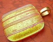 Orange Ridged Dichroic Fused Glass Pendant with Gold Bail