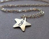 Stargazer Initial Charm Necklace, Custom Monogram Star Pendant on Sterling Silver Chain, Personalized Necklace, Star Necklace