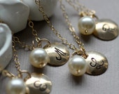 Bridesmaid GIFT Set of FOUR Personalized Pearl Necklaces, Custom Monogram Initial Charm with Pearl, 14K gold fill, Bridal Party Jewelry