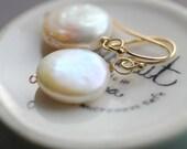 Freshwater Pearl Earrings, Coin Pearl Earrings, Ivory Freshwater Pearl Earrings, Bridal Earrings, June Birthstone, 14k gold fill Ear Wires