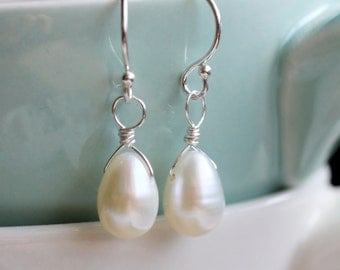 Freshwater Pearl Earrings, Dainty Teardrop Pearl Earrings, Ivory Freshwater Pearl Earrings, Bridal, June Birthstone, Sterling Silver