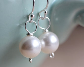 Pearl Earrings, Round Pearl Earrings, Drop Earrings White Swarovski Crystal Pearls Sterling Silver, Simple, Minimal, Classic Bridal Earrings