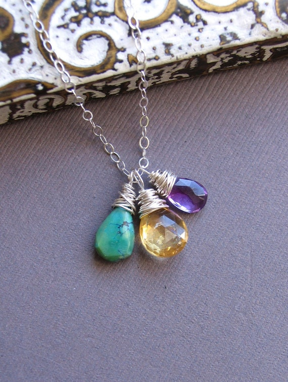 Three Custom Birthstone Necklace, Semi Precious Gemstone Necklace, Sterling Silver Chain, Mother's Necklace, Family, Children Necklace
