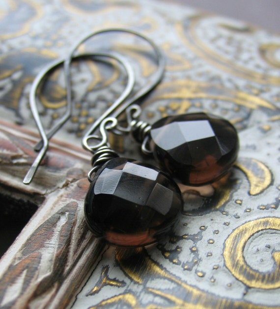 Smokey Quartz Faceted Briolette Earrings - Antiqued, Oxidized Sterling Silver