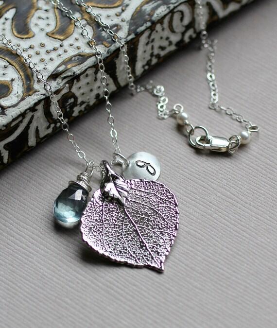 Silver Leaf Necklace, Aspen Leaf Pendant, Custom Gemstone, Monogram Initial Charm, Initial Disc, Custom Birthstone, Letter Necklace