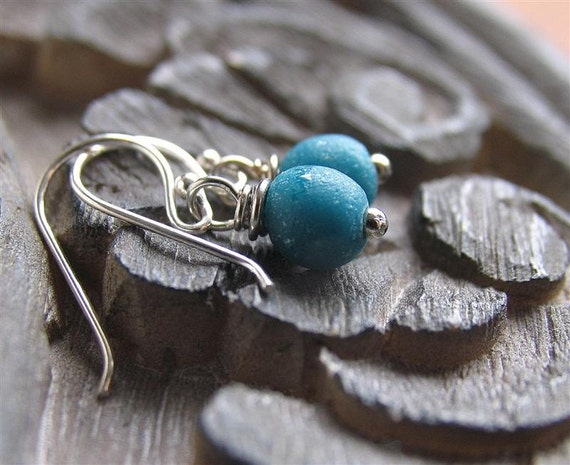 Recycled African glass Earrings - Blue Cerulean on Sterling Silver - Small drop, Everyday Earrings