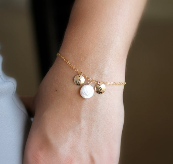 Freshwater Pearl Bracelet with Two Monogram Initial Charms, 14k gold fill charms and chain, June Birthstone, Personalized Bracelet
