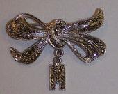 Sterling Silver Marcasite Initial Brooch M. - Vintage twenties pin