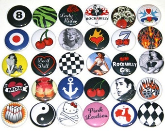 Retro Rockabilly Badges Pinback Buttons Lot x 30 - 25mm