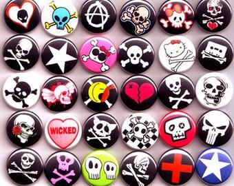 Skull Punk Mix Badges Pinback Buttons Lot x 30 - 25mm