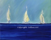 Seascape Painting  Sailboats Painting CUSTOM 28X22  Gallery Wrapped All Sides Painted
