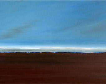 Original Abstract  Painting  Seascape CUSTOM   Blue  and Brown Canvas Painting Serene Beautiful Horizon 36X24