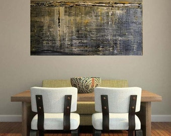 48 X 36 Extra Large Abstract Landscape  painting MADE TO ORDER    Textured Reflections of Yesterday Series