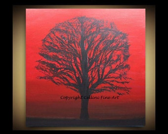 Original landscape painting Tree Painting Black and Red 24 X 24 Stretched Canvas