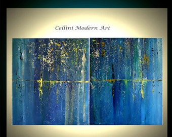 Large  Original Abstract Paintings, 48X30 Palette Knife  Fine Art Textured Blue  Paintings CUSTOM