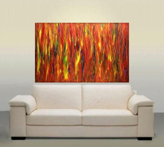 BIG CLEARANCE SALE  Original Abstract Modern Fine Art Tie Die Fantasy Forest 36x24