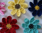 Crocheted Extra Large Flower Applique, Magnet, Earrings or Pin - Choose your Colors
