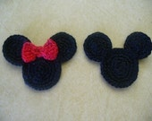 Crocheted Mickey and Minnie Head Appliques, Embellishments, Magnets, Earrings or Pins - Mix and Match