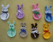 Crocheted Easter or Spring Bunny Applique, Embellishment, Earrings, Magnet or Pin - Your Choice of Colors