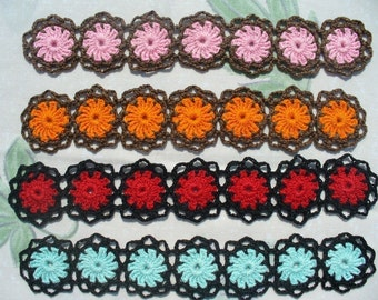 Retro Cluster Hand Crochet Bracelet - Choose any Color Combo You Want