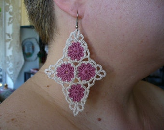 Crocheted Funky Dangle Cluster or Cross Triangle Earrings - Your Choice of Design and Colors