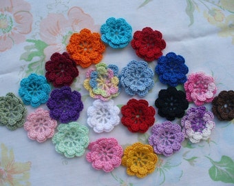 Crocheted 2 Layer 3D Flower Appliques, Embellishments, Earrings, Magnets or Pins - Your Choice of Colors