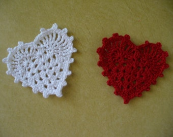Crocheted Lacy Heart Applique, Embellishment or Earrings  - Style 2 - Choose Your Colors