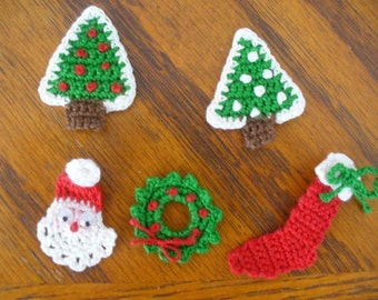 Crocheted Christmas Appliques, Embellishments, Pins, Magnets or Earrings - Santa Claus, Christmas Trees, Wreath, Holly Leaf, Stocking