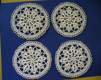 Delicate Coaster Set or Small Doilies, Hand Crochet - Set of 4 - Choose your Colors