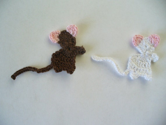 Cute Little Mice Appliques or embellishments, hand crochet - Take 2 and Choose any Color Combos