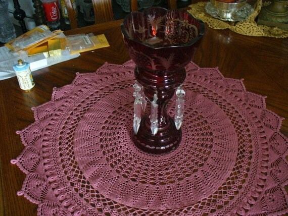 Crocheted Rosey Center piece, Table Cloth, Table Cover, Large Doily