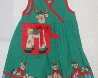 Rockin Rudy Reindeer Holiday Jumper for Little Girls FREE SHIPPING