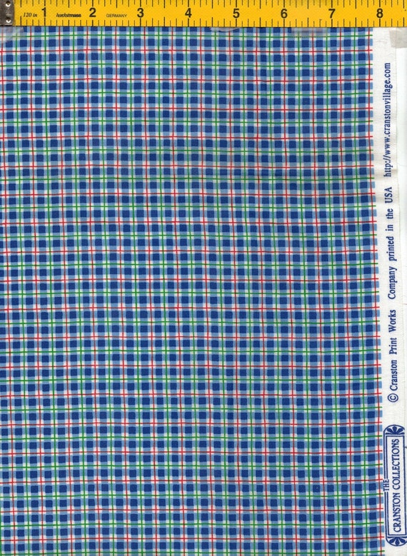 Red, Blue and Green Plaid Fabric from The Cranston Collection by Cranston Print Works Co. FREE SHIPPING