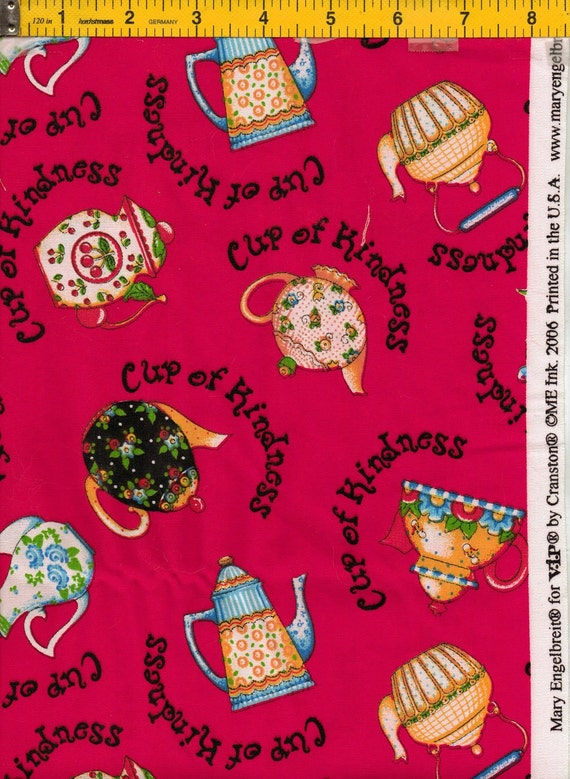 Cup Of Kindness Mary Engelbreit  Fabric for VIP by Cranston FREE SHIPPING