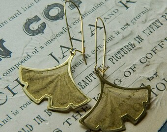 Gold  Brass Ginkgo Earrings