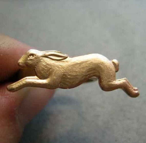 Frolicking Brass Bunny Rabbit Ring