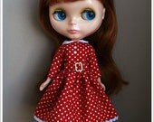 Beloved Blythe Red with White Dots Dress (White Buttons)