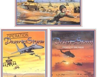 13x19 vintage 1991 Desert Storm Lythograph Posters, separate or Set of 3, by Walt Curlee