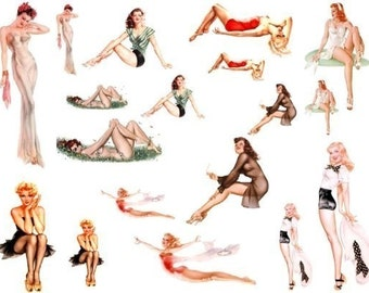 Pinup Girls No. 2 - 2 Digital Collage Sheets - Instant Download