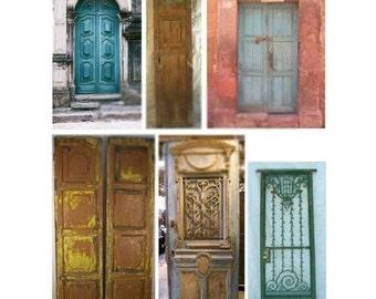 Old World Doors No. 1 - 2 Digital Collage Sheets - Instant Download