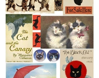 Those Elusive Cats - Digital Collage Sheet - Instant Download