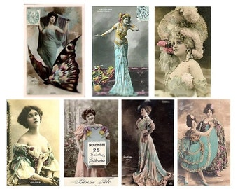 Hand Tinted Ladies in Blue No. 2 - Digital Collage Sheet - Instant Download