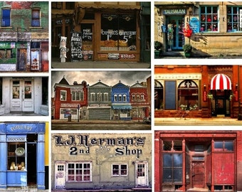 The Village Store - French Storefronts - BEST SELLER - Digital Collage Sheet - Instant Download