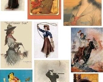 Cowgirls No. 2 - Digital Collage Sheet - Instant Download