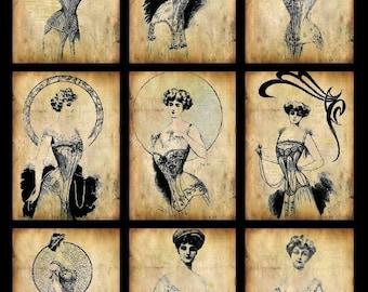 Grunge Vintage Corsets - ACEO Size - Digital Collage Sheet - Instant Download