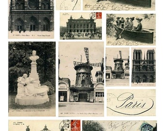 Souvenirs of Paris No. 1 - Digital Collage Sheet - Instant Download