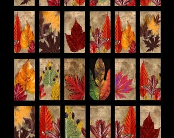 Autumn Leaves Domino - 1x2 Inch - Digital Collage Sheet - Instant Download