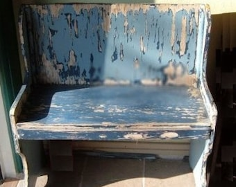 Blue Primitive Bench in Late Afternoon Sun - Photographic Print
