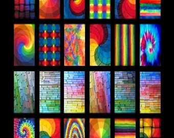 Rainbow Domino - 1x2 Inch - Digital Collage Sheet - Instant Download